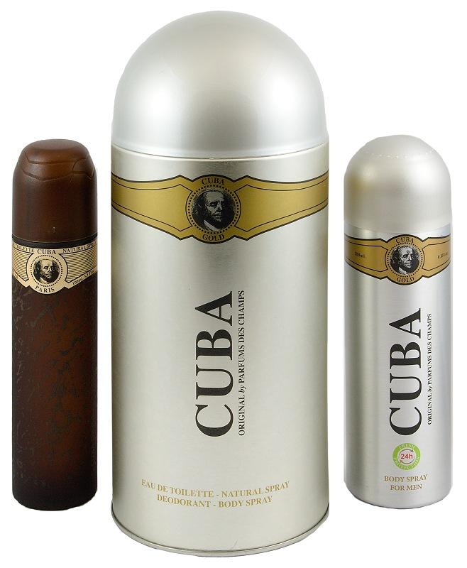 Cuba sada Originál Gold EDT 100 ml+deospray 200 ml plechová tuba