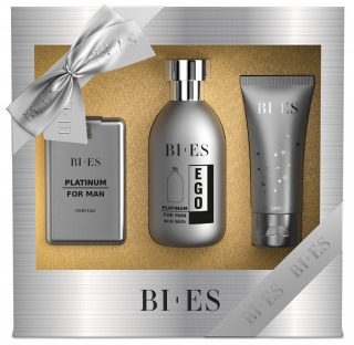 BI-ES sada Men Ego Platinum EDT 100ml+parfém 15ml+sprchový gel 50ml